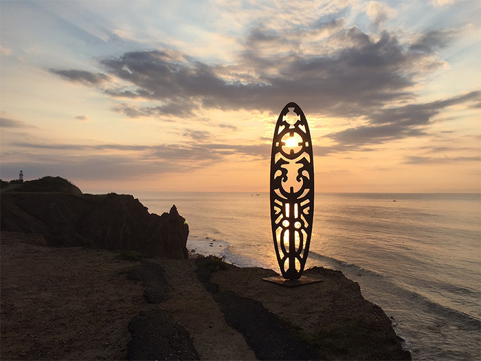 sculpture with sunset